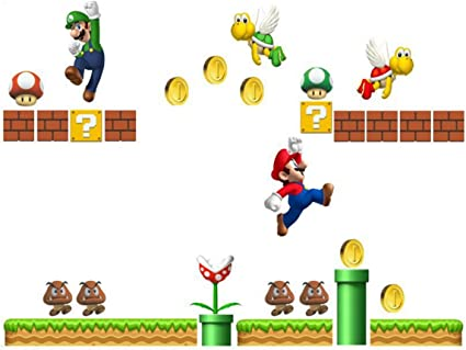 Amazon Com Super Mario Build A Scene Peel And Stick Wall Decal Stickers Wall Decals Stickers Diy Removable Stick Baby Boys Girls Kids Room Nursery Wall Mural Decor Baby