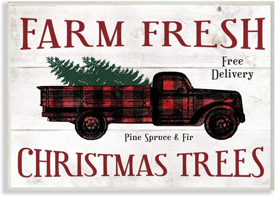 Stupell Industries Farm Fresh Christmas Trees Red Plaid Truck Holiday Word Design Wall Plaque, Multi-Color