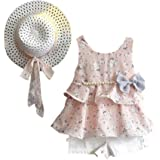 for 1-6 Years Old Kids Clothes Set//3PCS Toddler Baby Kid Girl Outfits Clothes Floral Vest T-Shirt+Pants+Sun Hat Set