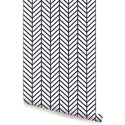 Herringbone Line Wallpaper - Navy - 2 ft x 4 ft - Single - by Simple Shapes
