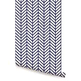 Herringbone Line Wallpaper - Navy - 2 ft x 9 ft - 6pk - by Simple Shapes
