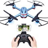 Dwi Dowellin WIFI FPV Version Drone with 720P HD Camera Headless Mode Quadcopter Long Flying Time Drones for Beginners X20 Blue