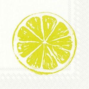 Boston International IHR 3-Ply 20-Count Cocktail Beverage Paper Napkins, 5 x 5-Inches, Lemon Bar Lime