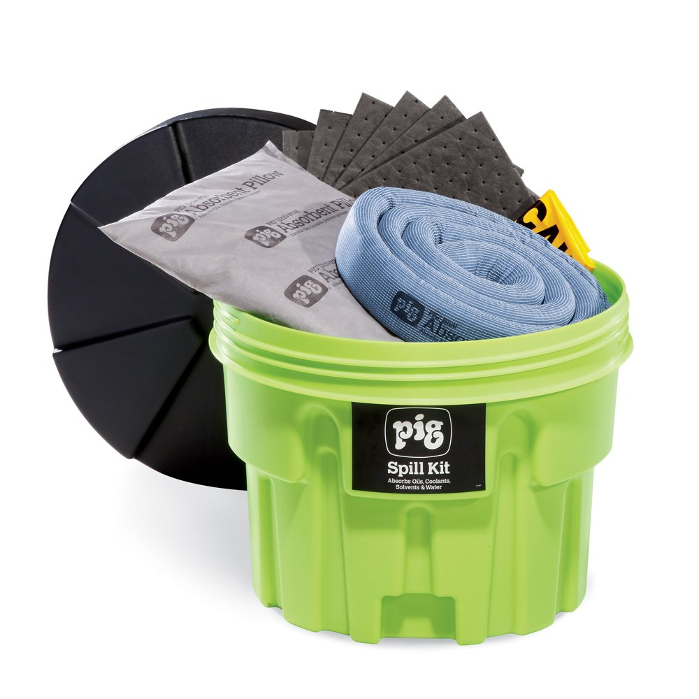 New Pig Spill Kit in 20-Gallon High-Visibility Container - Absorbs Oils, Coolants, Solvents & Water - 12-Gal Absorbency - Hi-Viz Spill Kit - KIT264