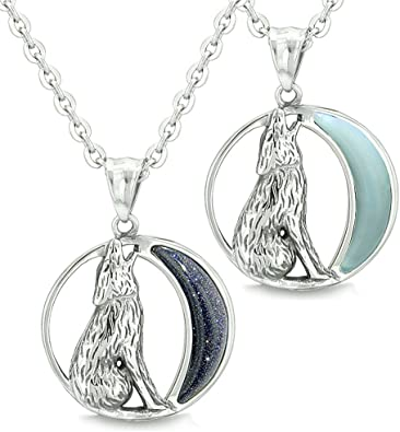 Howling Wolf Wild Moon Protection Amulets Love Couples or Best Friends Necklaces