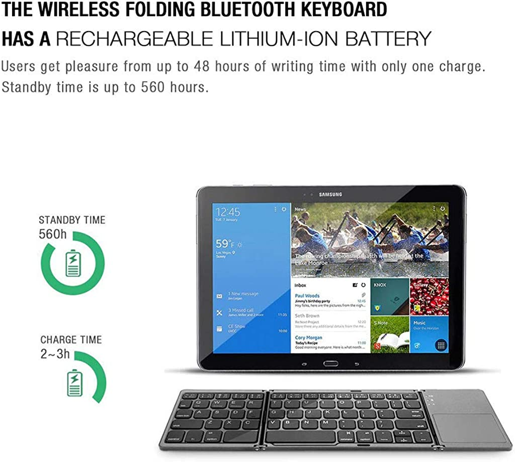 AckfulBluetooth Keyboard Foldable Wireless Keyboard Compatible with Tablets Laptops Smartphone