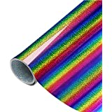 PAMISO 9.8X39 inch Holographic Vinyl Heat Transfer, Rainbow HTV for Decorating Your T-Shirts (Rainbow)