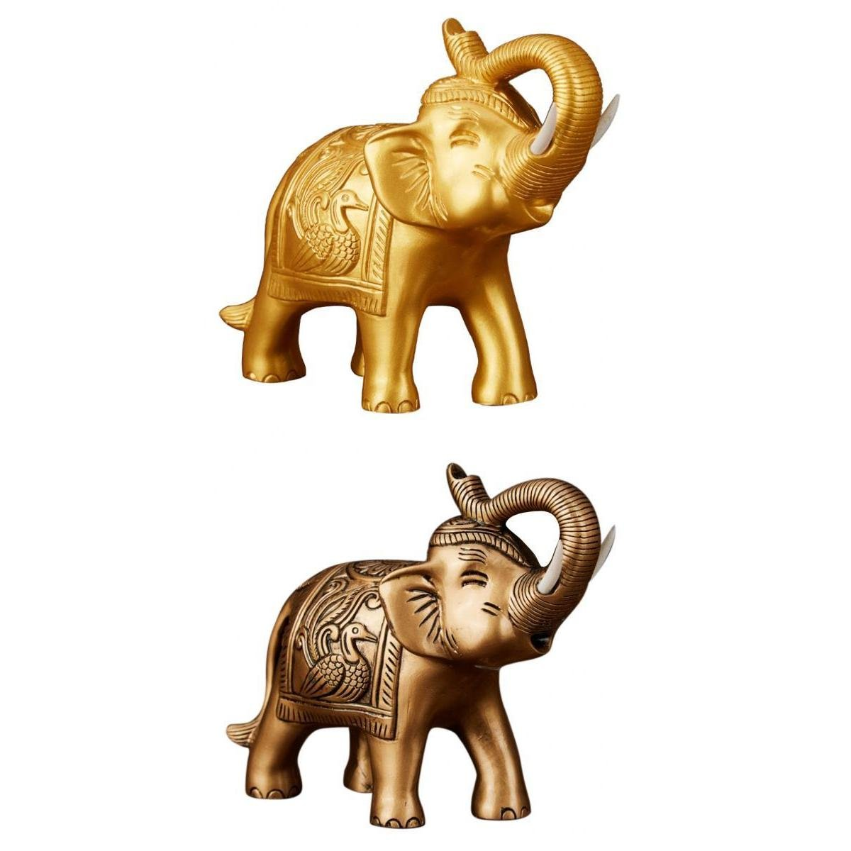 Antiques Chinese Feng Shui Chinese Lucky Car Decor Charm Money Elephant Figurine Gold