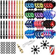 CyeeLife-Dart Accessories kit,36 Dart Flights+18 Aluminium Shafts+Sharpener+Dart Tool+100 Rubber Rings+6 Fligh