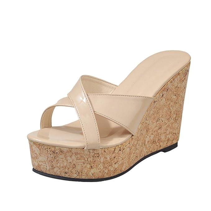bene vivido e di grande stile scarpe sportive Scarpe da Donna Pantofole Pesce Bocca Ciabatte Zeppa con Tacco ...
