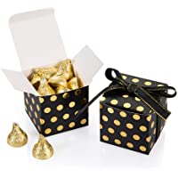 AWELL Black Gift Candy Box with Gold Dots Bulk 2x2x2 inches with Ribbon Party Favor Box, Gold Dots,Pack of 50