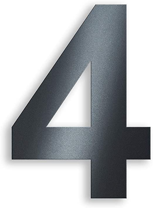 4 Edelstahl Hausnummer Anthrazit RAL7016 20cm hoch