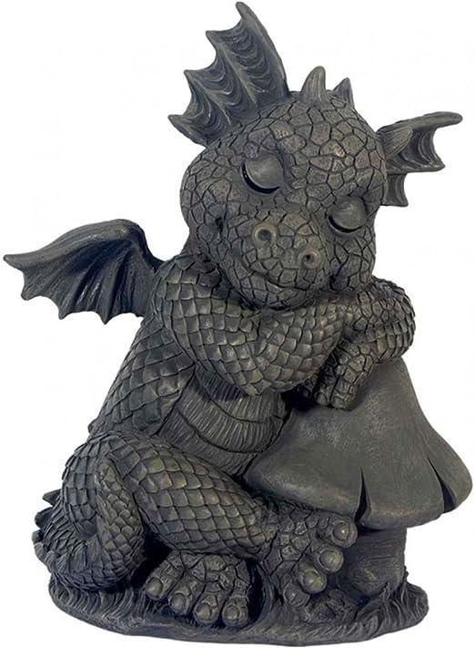 JARDÍN - El dragón se sienta al lado de la seta - MystiCalls - GD-294 - Estatuilla del dragón Deco: Amazon.es: Jardín