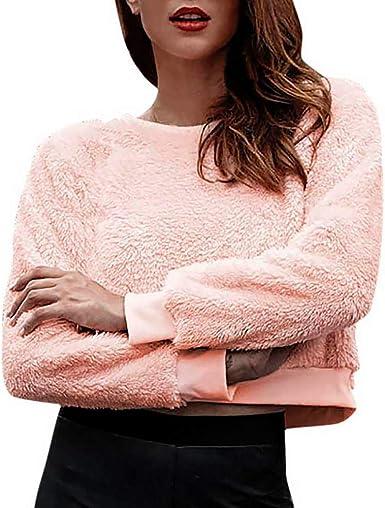 OverDose mujer De LiquidacióN SóLido De Manga Larga Sexy Tapas Diarias Blusa Corta O-Cuello Pullover Camisa Rosa con Capucha: Amazon.es: Ropa y accesorios