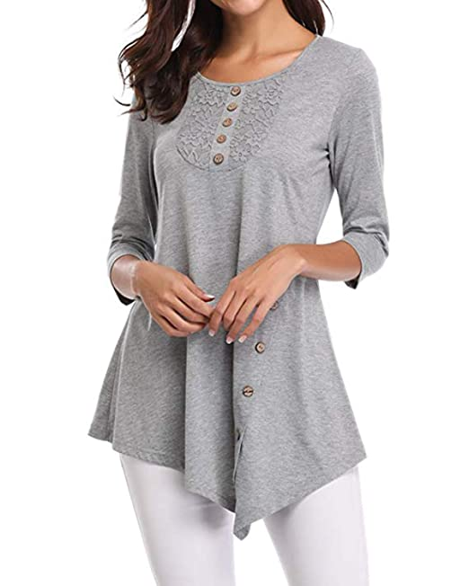 be798c988dcb BBYES Women s Solid Casual Lace Irregular Loose T Shirt Tops Blouse Gray S