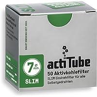 actiTube 17125 Slim Actieve Koolstoffilter, Houtskoolfilters voor Sigaretten, 2 x 0.7 x 0.7 cm, 10 x 50 Stuks