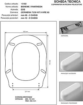 Horganica Copriwater Compatibile con Serie Boheme//Pantheon Azienda EOS