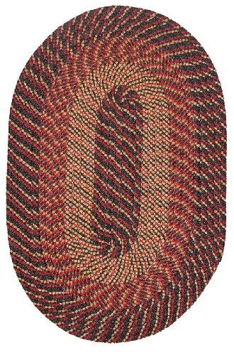 Plymouth Braided Rug in Black Red Gold (24