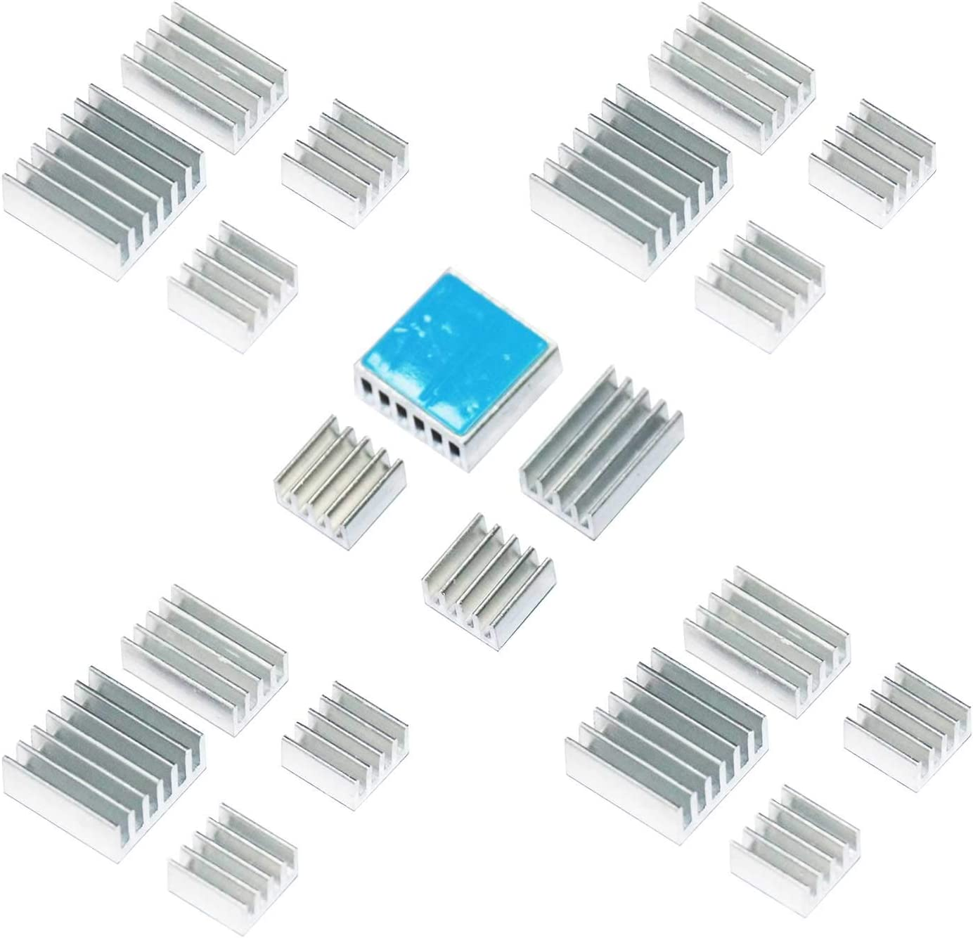 10 Set Heat Sink CPU Cooler PCB Power Board Radiator Aluminum with Adhesive for Raspberry Pi 2//3//4