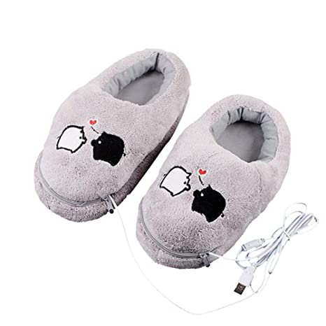 2aac46143620 Women Winter Warm Shoes Electric Heating Shoes 1 Pair USB Electric Heating  Slipper Heated Plush Shoe Grey with Cute Piggy for Feet Cold Relief   Amazon.ca  ...