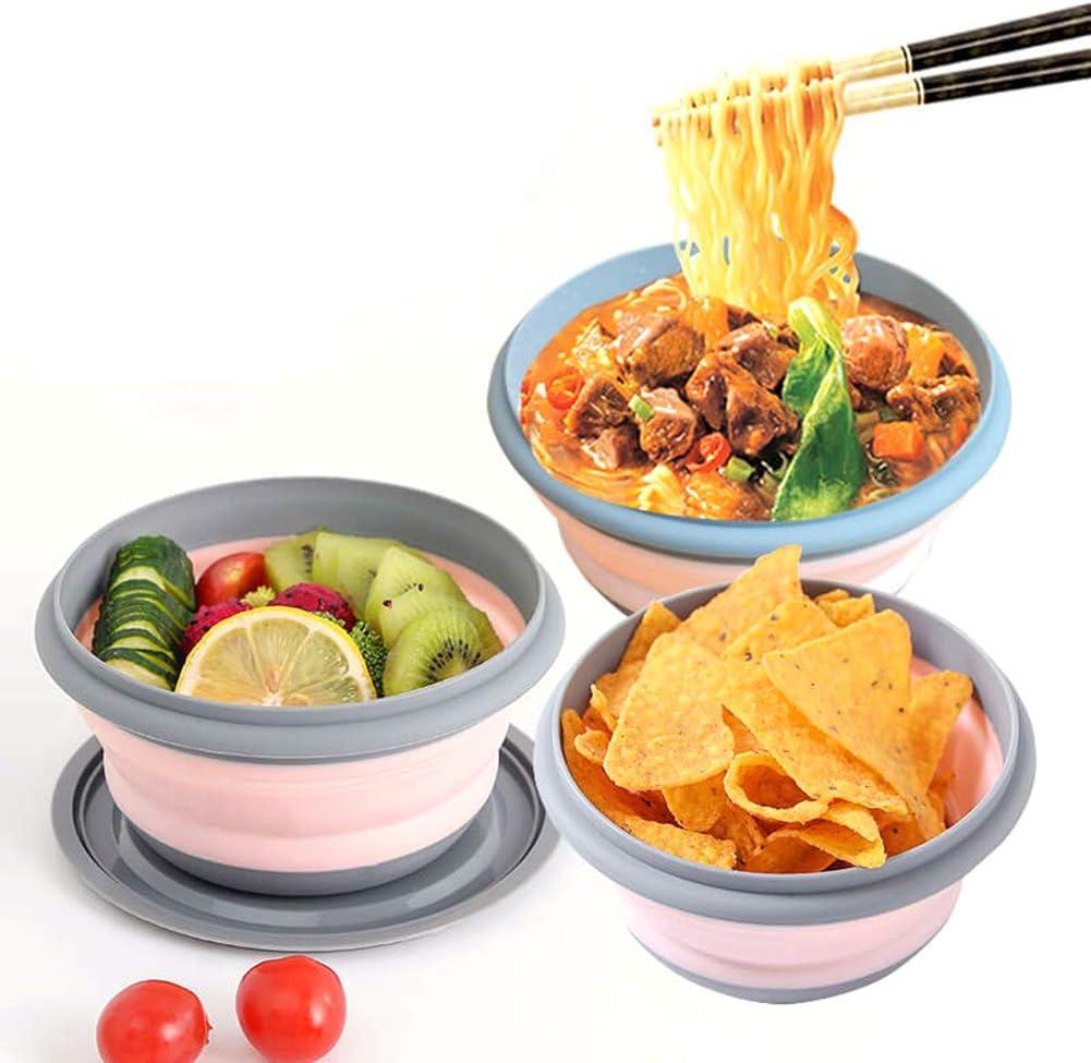 faltbar tragbare Salatsch/üssel mit Deckel 3-teilig FENGSHUAI Outdoor Camping Geschirr-Set Silikon Kieselgel