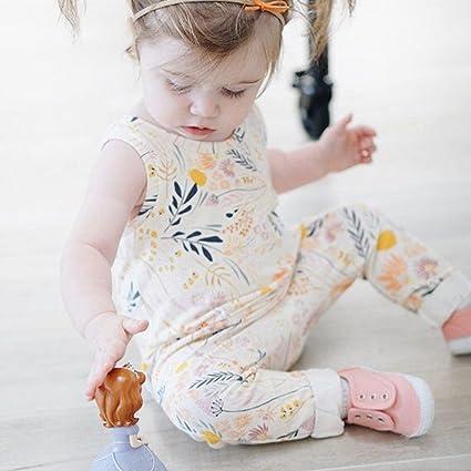 Guguogo recién nacido de una pieza flor estampado sin mangas largo jumpsuits bebé niña pelele white