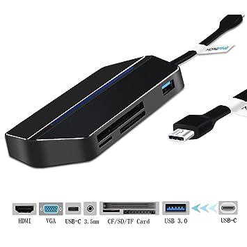 USB C Hub con HDMI VGA SD Micro SD CF Lector de tarjeta USB 3.0 AUX