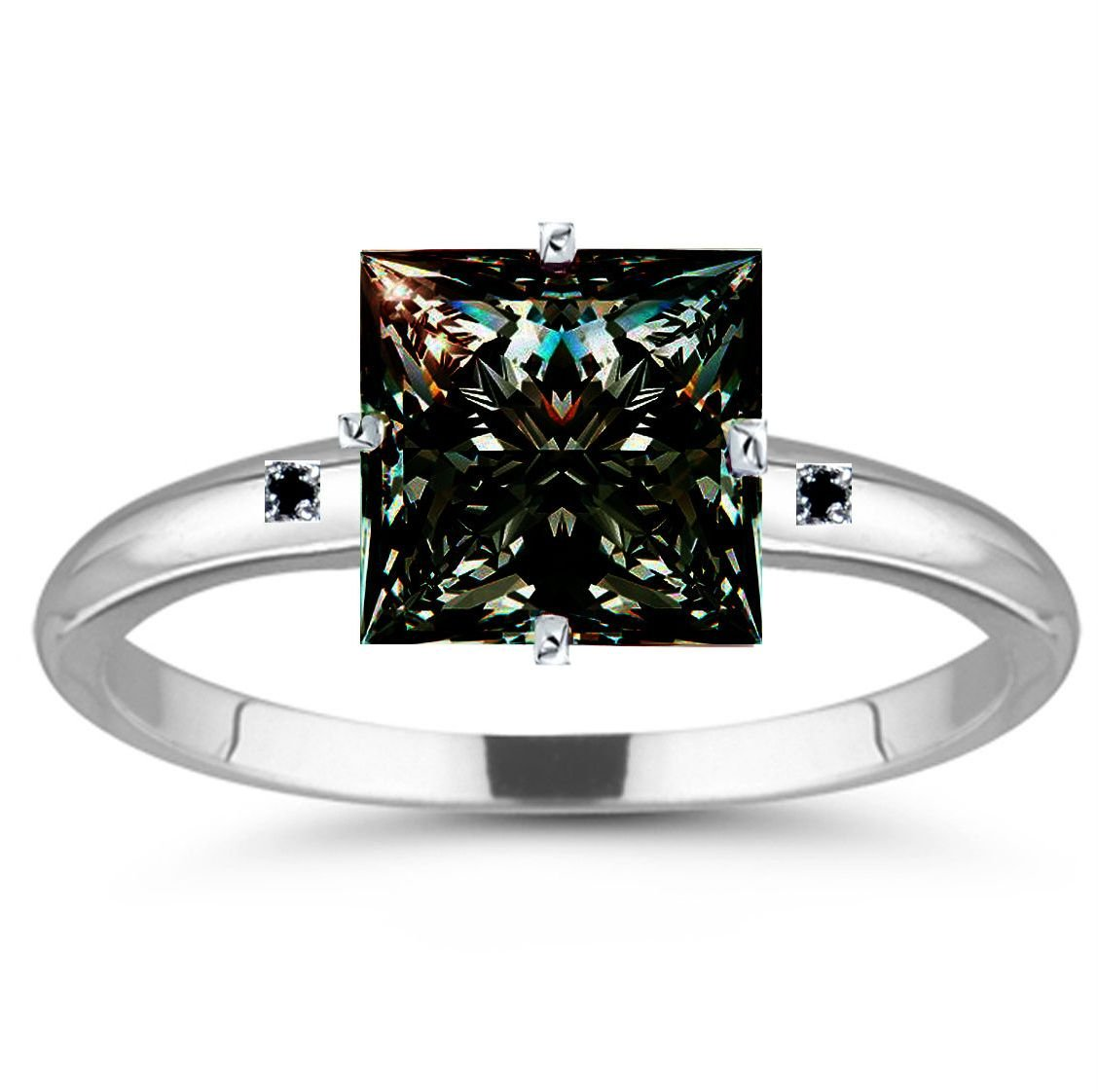 RINGJEWEL 11.90 ct I3 Princess Real Moissanite Engagement Silver Plated Ring Brown Green Color Size 7