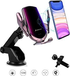 Wireless Car Charger,10W Qi Fast Charging Auto-Clamping Car Mount Dash Windshield Air Vent Phone Holder Compatible iPhone11/11Pro/11ProMax/XSMax/XS/XR/X/8,SamsungS10/S9/S8/Note10/Note9,LG,Google Pixel