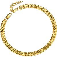 ChainsPro 4.8/6/10/14 MM Cadena de Eslabones Cubano, Curb Cuban Chain, Collar Miami Acero Inoxidable Plateado/Doado…