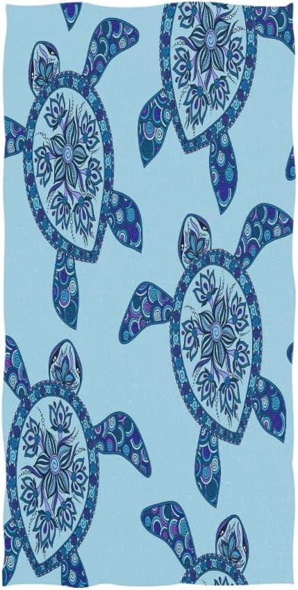 Amazon Com Wihve Hand Towel Cartoon Sea Turtle Blue Mehndi Style