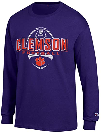 2c5f4eaa Amazon.com : Champion Clemson Tigers Purple Football Long Sleeve Tee ...