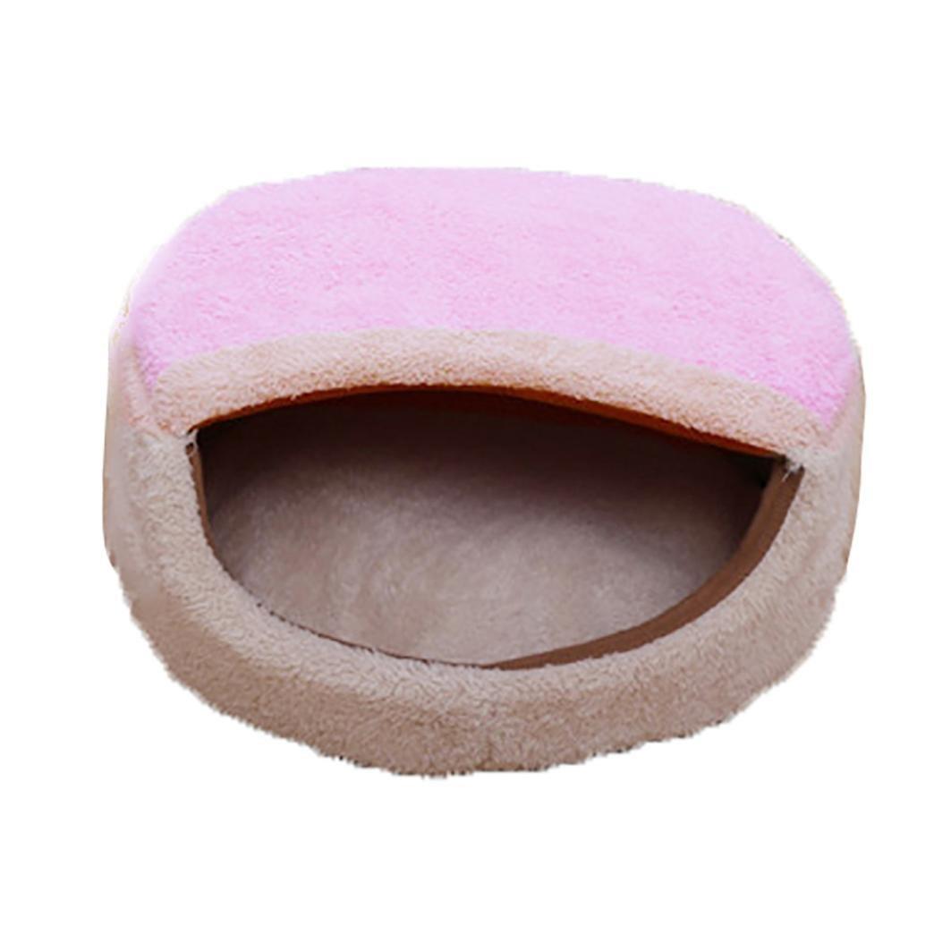 Binmer(TM) Pet Dog Puppy Cat Warm Bed House Plush Cozy Nest Mat Pad Warm Bed Pink