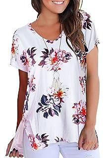 801eb9f57a8f20 FISOUL Women Short Sleeve V Neck Tee Loose Shirt Casual Basic Side Slits Top