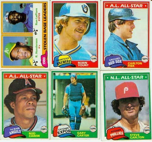B000OHX25E 1981 Topps Baseball Complete Near Mint 726 Card Set. Features Rookie Cards of Tim Raines, Fernando Valenzuela, Kirk Gibson and Others Plus Rickey Henderson's 2nd Year Card! Loaded with Stars Including George Brett, Nolan Ryan, Mike Schmidt, Yaz