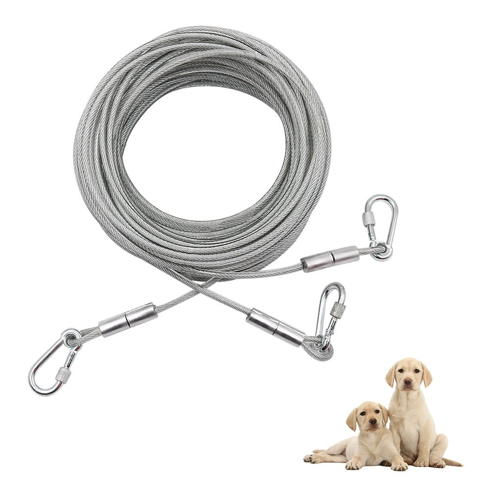 XiaZ Double Pet Dog Tie Out, 50 Feet Dog Run Cable Wire Trolley System for Two Medium Large Puppy, Dogs Chains for Outside, Yard, Camping