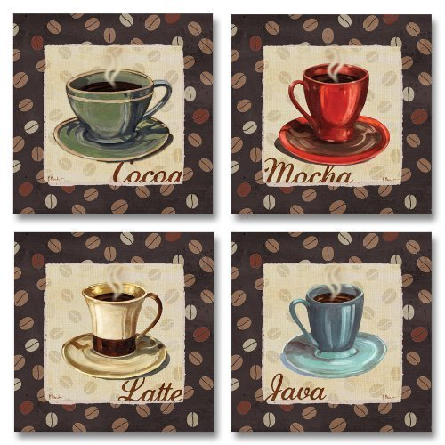 Popular Cup of Joe Vintage Coffee Art Print Posters; Kitchen Decor, Four 8x8. Brown/Beige