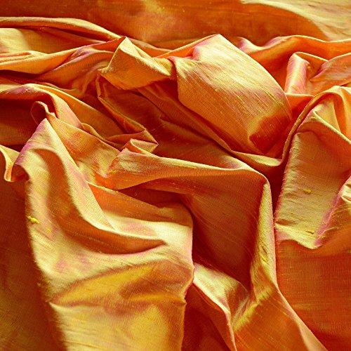 Iridescent Marigold Orange Dupioni Silk, 100% Silk Fabric, By The Yard, 44