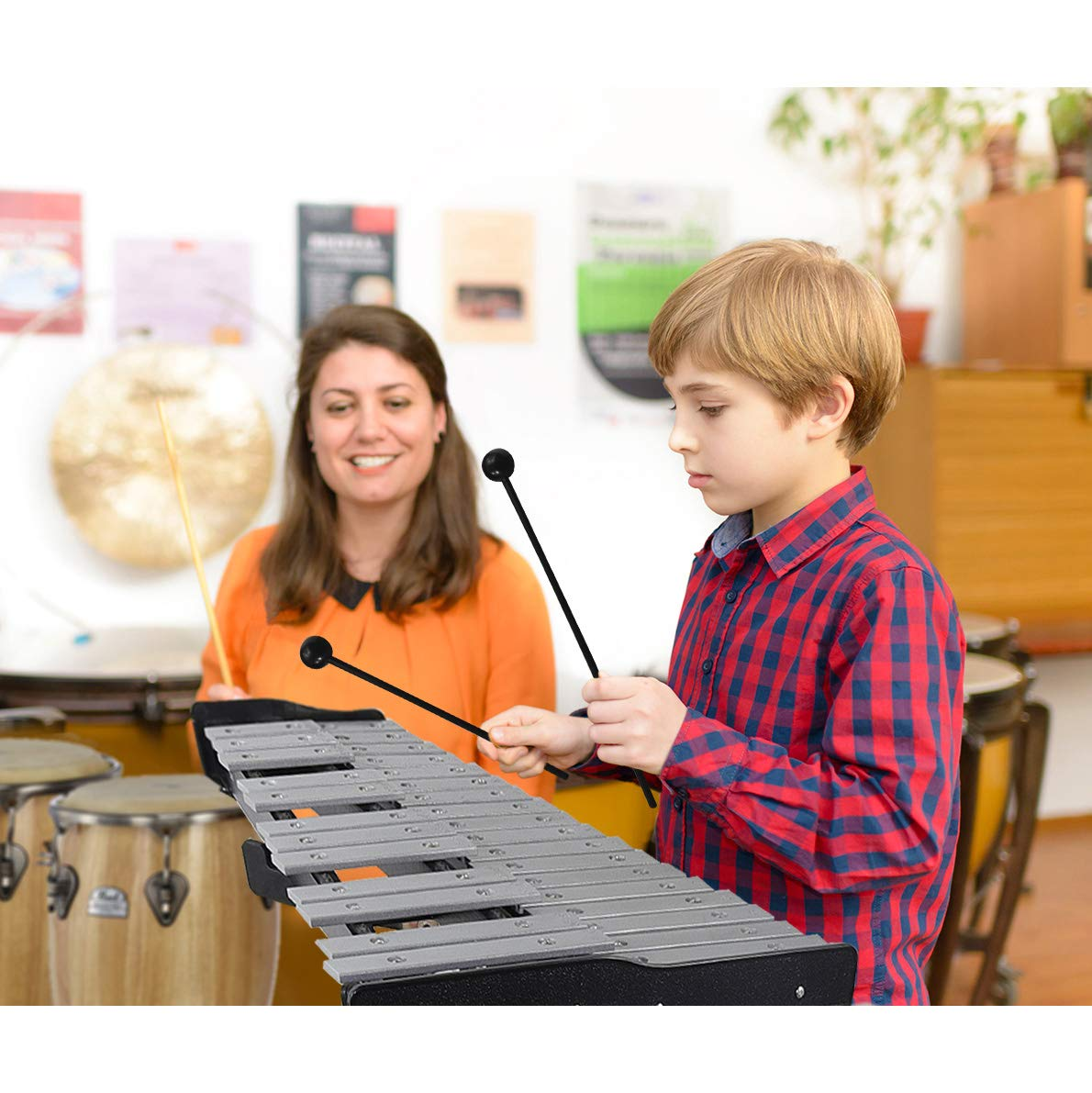 30 note Professional Glockenspiel - Metal Bell Kit Xylophone with Stand, Note Holder and Carrying Bag by inTemenos (Image #2)