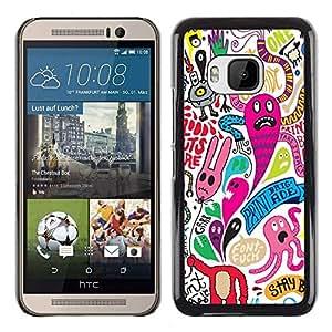 // CIUDAD ACTUAL MECELL // SmartPhone funda carcasa PC duro plástico fresco imagen para HTC uno M9 /// Papel pintado colorido mounstruos Cartoon Character ///