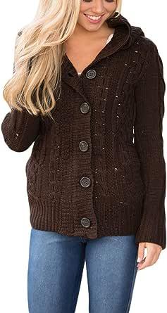 Dokotoo - Chaqueta con capucha para mujer, con botones, tejido grueso