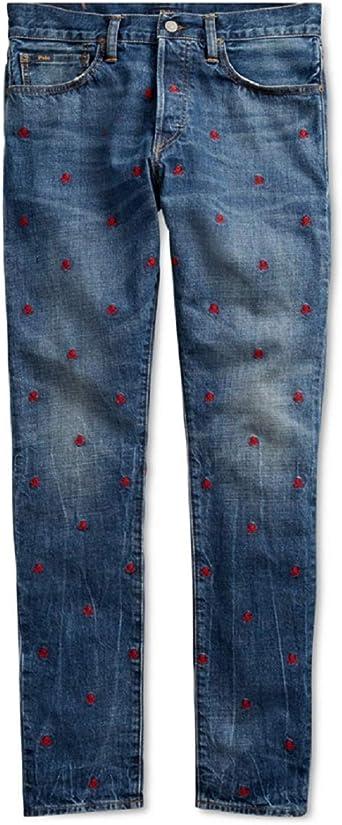 Amazon Com Ralph Lauren Polo Sullivan Slim Pantalones Vaqueros De Algodon Bordados Diseno De Calaveras Clothing