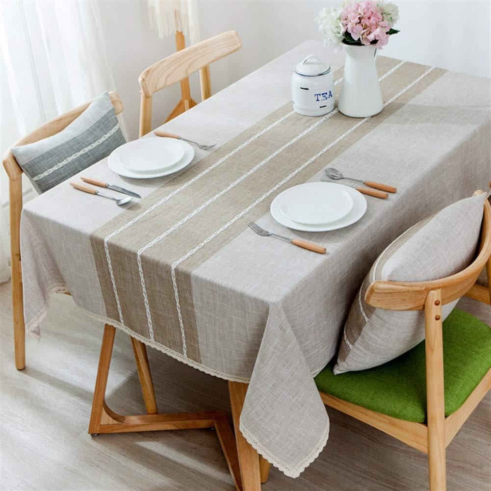 Insun Nappe de Table Lavable Nappe Coton Lin avec Bordures de Dentelle et Broderie Prot/ég/é Contre la poussi/ère Tissu de Table Bleu Vert 2 55x55cm Carr/é