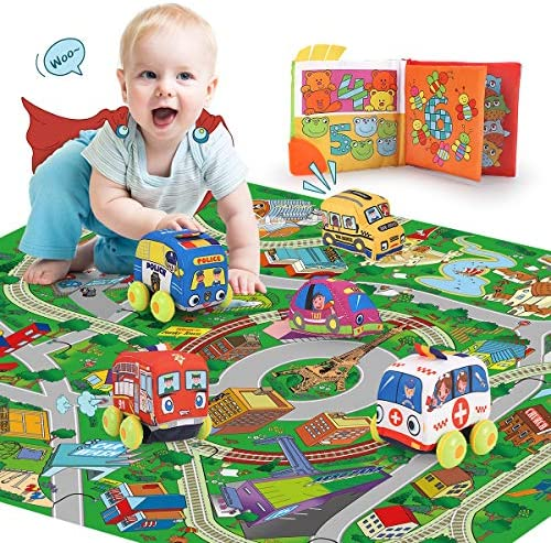 REMOKING Pull-Back Vehicle Toys Set, Soft Vehicle Toy Set 5 Cars with Play Mat, Educational Interesting Cloth Book Set, Great Gifts for Kids 18 Months and up