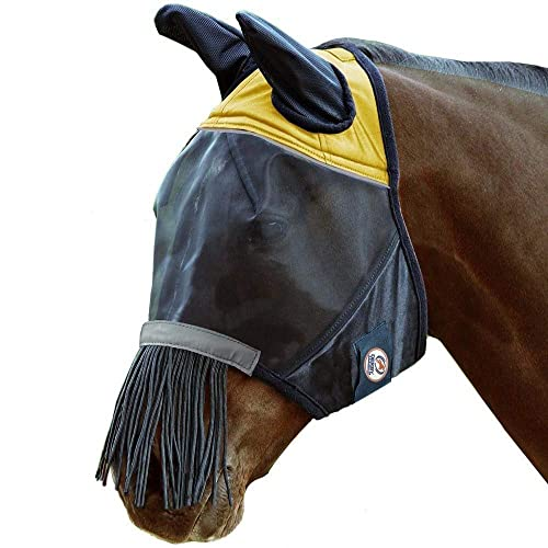 Derby UV-Blocker Premium Reflective Horse Fly Mask With Ears And Nose Fringe