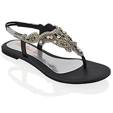 29220b249bce6 Essex Glam Womens Diamante Slingback Toe Post Flat Sandals (5 B(M) US