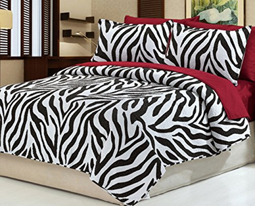 Dovedote Cotton Black White Zebra Animal Print Bedspread with Burgundy Sheet Set, King, Reversible, 7 Piece (Animal Print Comforter Sets King)