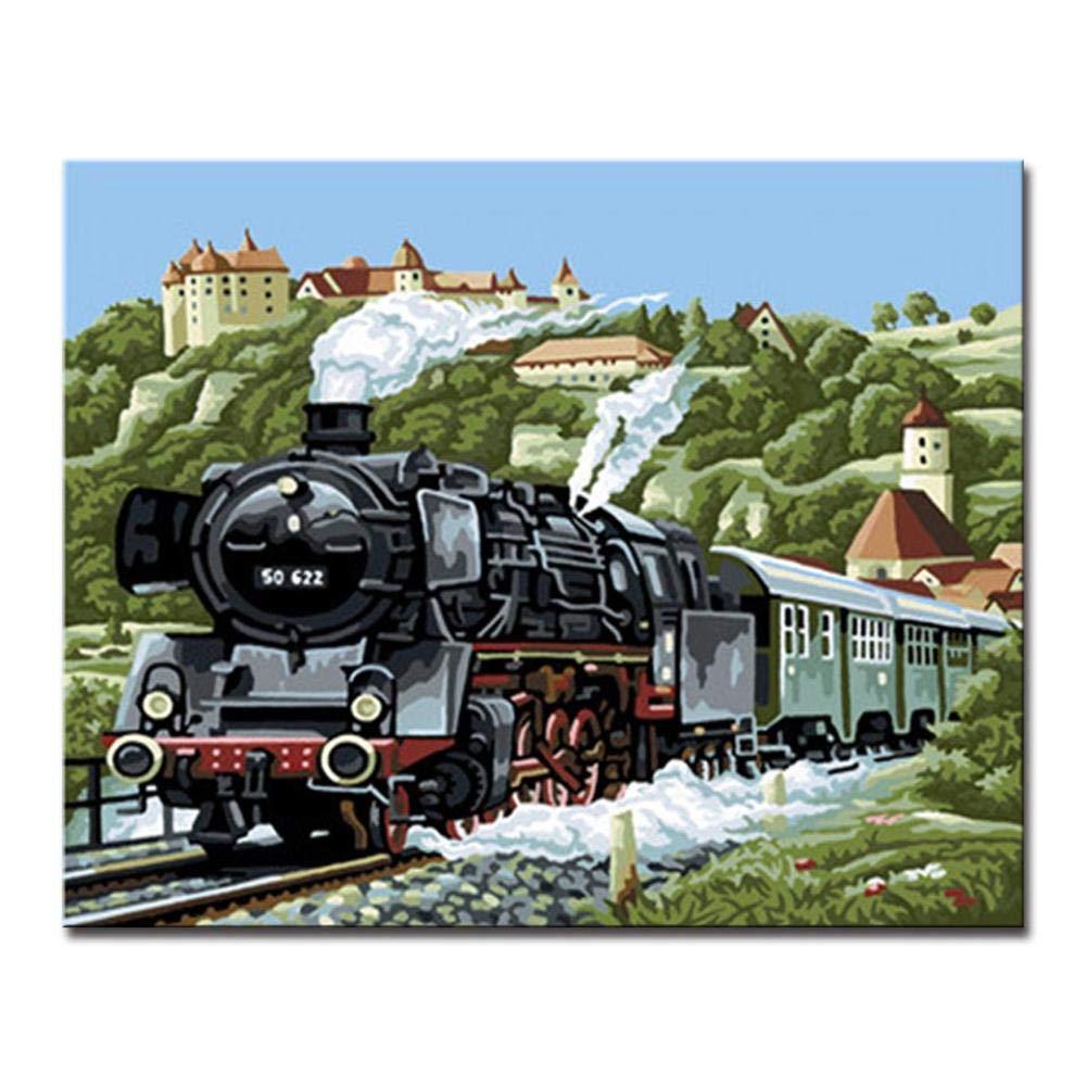 Dysdiy Bricolaje Pintura al óleo, Pintura por números Kits para Adultos Niños Pintura por número Kits Decoración para el hogar,Locomotora de Vapor 16*20 Pulgadas