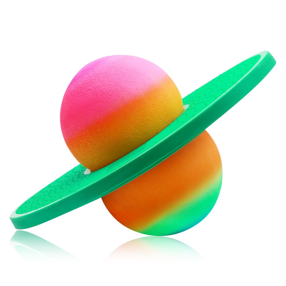 ZYAQ Colorful Hopper Balance Pogo Jumping Exercise Bounce Space Fitness Ball for Kids Adults (Green) by ZYAQ