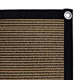 Shatex 90% Shade Fabric Sun Shade Cloth with Grommets for Pergola Cover Canopy 12' x 16', coffee